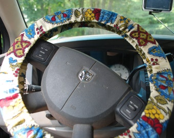 Steering Wheel Cover Fun colorful pattern on tan background