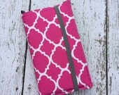 iPhone wallet, iPhone case -Hot pink quatrefoil wallet with removable gel case
