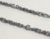 Handmade Sterling Silver 'Cube Link' Chain, solid 925, 18''-36''