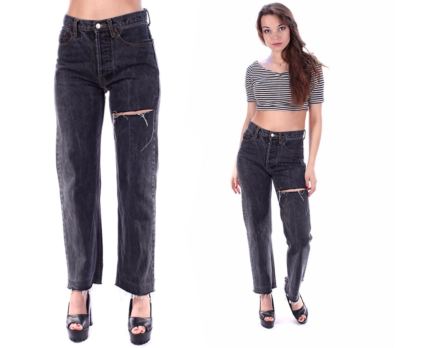 faded black boyfriend jeans levis 501 high waisted ripped. Black Bedroom Furniture Sets. Home Design Ideas