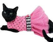 Cat Dress Cat Clothes Pink and Black Polka Dot Cat Tutu Dress for Birthday Party or Easter pet clothing cat clothing pet clothes