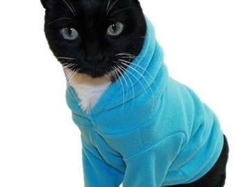 Turquoise Microfleece Cat Hoodie-Fleece Cat Hoodies-Cat Sweatshirt-Sphynx Cat Clothes-Cat Sweater-Cat Hoodies-Cat Shirts-Cat Sweatshirts