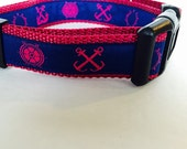 Adjustable Dog Collar Nautical Anchors and Wheels Pink