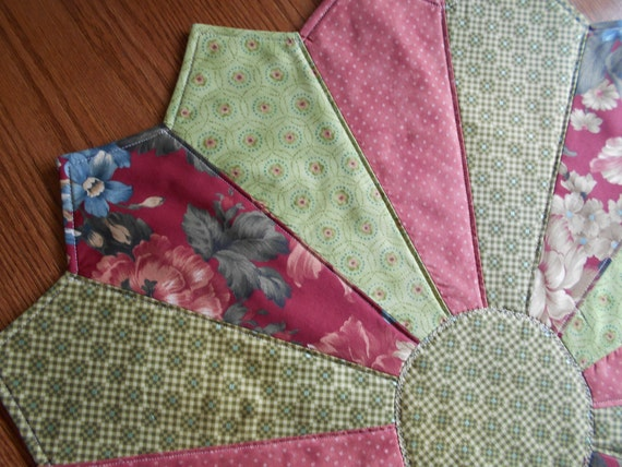 Quilted Dresden  Table Topper, Cottage Chic, Quilted Table Topper, Table Centerpiece