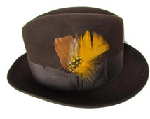 Vintage Mens Fedora Hat - Size 6 7/8 Mallory Toring Quality Fifth Avenue Stetson Three Corner Hats Brown Wool Hats