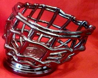 "Ceramic Coil Pot Fruit Bowl - 6.5""Tall x 9""Wide-Antique Bronze- Hand Sculpted"