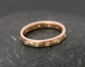 18k Gold Diamond Ring -Rose Gold Eternity Band - Wedding Band with Diamonds - Rose Gold Ring - Made to Order- FREE SHIPPING