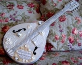 Vintage, Painted Mandolin, Shabby Chic, Decorative Mandolin, Lace and Buttons, Mandolin, Music Instrument