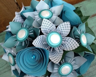 Teal and Blue Kusudama Paper Fower Arrangement in Teal Pitcher