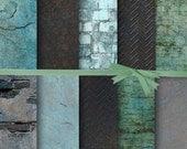 Tealed Distress Digital Paper, Textured Digital Paper, Background Digital Paper, Turquoise Brick Digital Paper, Brick Photo Texture #15190B