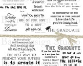 Graduation Quotes, Inspirational Quotes, Dr. Seuss Digital Quotes, Digi Stamps, Planner Clipart, Photo Overlays, #15187