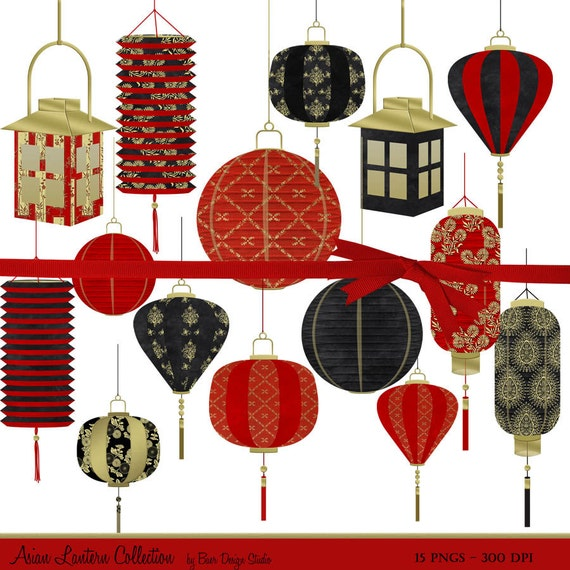 Chinese Lantern Clip Art Digital Clipart Christmas New Year Planner Commercial Use 15180