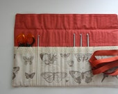 Crochet Hook Roll 7 inch (17cm) - Papillon - Butterfly Etchings Natural Stone Crochet Hook Organizer Fold Over Top
