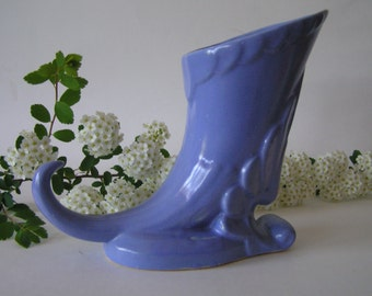 Vintage Blue Horn or Cornucopia Vase