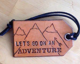 Leather Luggage Tag Version 2 Let's Go On An Adventure Snow Capped Mountains Bag Tag Arrow - Love That Leather