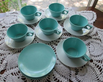 Vintage Melamine / Melmac Cups & Saucers - Turquoise and White - (Set of Six)