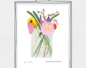 Watercolor Mason Jar Bouquet Art Print 8x10