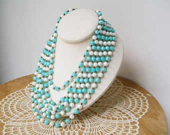 6 strand BEAD NECKLACE Aqua Turquoise White Statement Mid Century Faux Pearl Vintage Jewelry