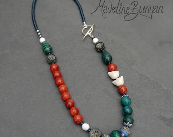 Teal, Red and white Birds long Necklace, lampwork, artisan ceramic, sterling silver