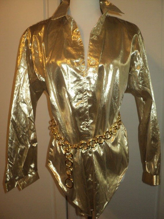 Halloween Costume Disco Style Metallic Gold Blouse Size Large