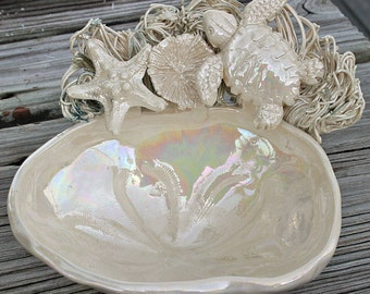 Sea Turtle Soap Dish with starfish