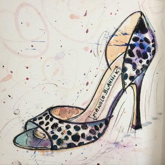 canvas shoe print of manolo blahnik shoe painting heels