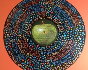 The Beatles Lucy in the Sky Lyrics Handpainted on Vinyl Record
