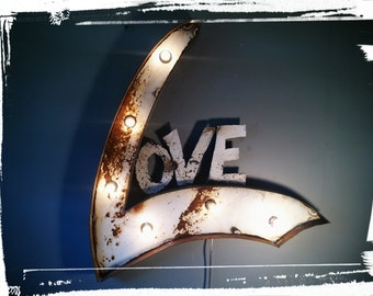 Industrial Metal marquee LOVE sign light lighted rustic shabby sign