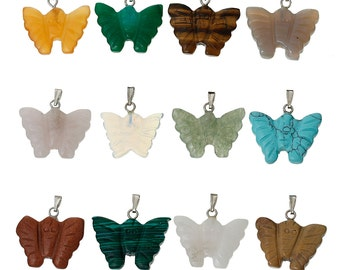 12 Butterfly Charms - Assorted Gems - 25x24mm - 1 Box - Ships IMMEDIATELY from California - SC1139