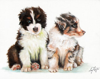 New Original Oil DOG Portrait Painting AUSTRALIAN SHEPHERD Art Puppy Artist Signed Artwork
