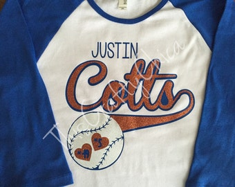 Glitter Baseball 3/4 raglan sleeve shirt * personalized * team name *