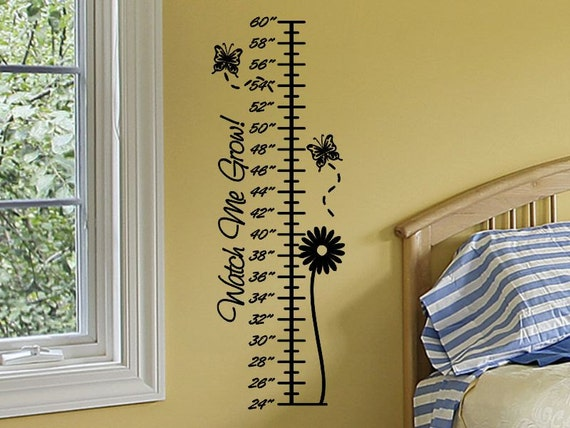 Growth Chart Decal with Butterflies and Flower Baby Girl Nursery Girls Bedroom Wall Decor Growth Chart Sticker Girl Room Decor Toddler Tween