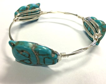 Turquoise Owls, Wire-Wrapped Bangle---MEDIUM