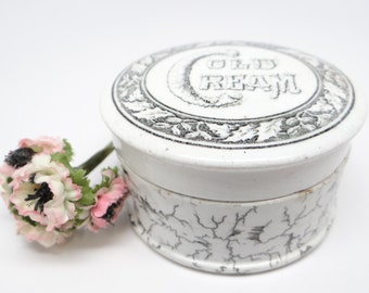1800's English Cold Cream Jar, Antique Ironstone Pot