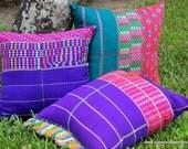 XL Floor Pillow / Boho Cushion Cover in Colorful Ethnic Karen Hand Woven Cotton
