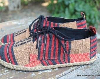 Vegan Womens Shoes Lace Up Oxfords In Tribal Naga Textiles - Maddie