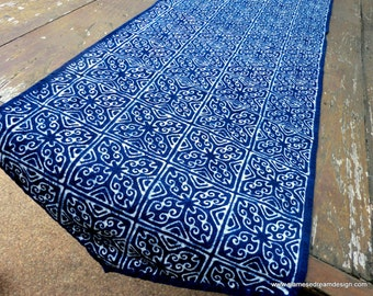 Table Runner In Natural Hmong Indigo Batik Blue Cotton 60 inches or 94 inches - FREE Worldwide Shipping