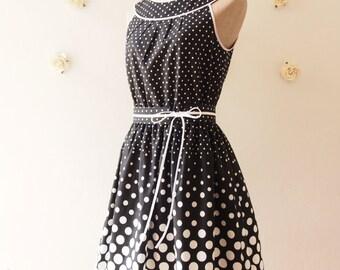 SALE --- Summer Dress Chic Sundress Black and White Polka Dot Dress Party Dress Tea Dress Retro Blue Bridesmaid Dress-Size S