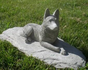 Concrete Dog Statues Etsy