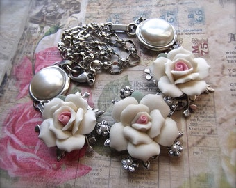 Convertible White Roses & Silver Plated Brass Necklace or Bracelet