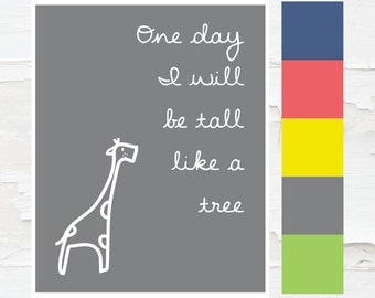 Printable Child Room Art Inspirational Giraffe Print - Instant Download