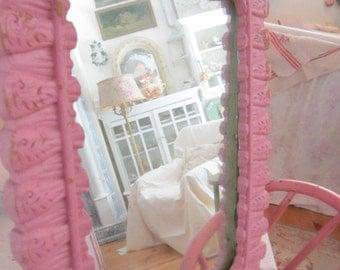 Pink mirror vintage chippy syrroco ornate mirror prairie cottage chic