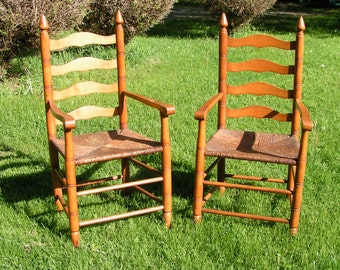 Set of Two Vintage LADDERBACK Wicker Chairs  -  1950s Heavy  Maple - PICKUP ONLY