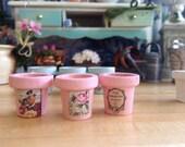 Dollhouse Miniature Shabby Chic Light Pink Wooden Flower Pots Set of Three