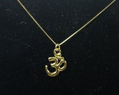 14K Gold OM Charm Necklace, Authentic Yoga Ohm Pendant, Solid Yellow Gold, Fine and Dainty