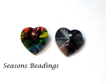 10 14mm Rainbow Crystal Heart Pendants - FREE SHIPPING to Canada