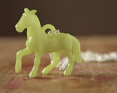 Lime green pony pendant necklace on a long waist length chain in silver - pastel horse jewelry - kitsch quirky gifts for her etsy uk