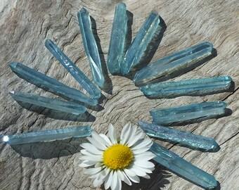 Aqua Aura Quartz Crystal Points, x12, Raw Rough Minerals ~ Jewelry Supplies Supply ~ 4.5g / 20-24mm ~ Spiritual Wisdom ~ Throat Chakra (4-5)