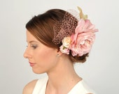 Pink Fascinator, Wedding Hair Piece, Flower Headpiece, Bridal Hair Accessory, Head Piece, Birdcage Veil, Woodland Wedding, Floral Hair Comb