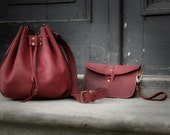 small raspberry  leather woman bag baggy shape Maja Ladybuq art design
